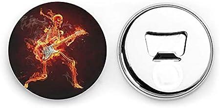 Abrebotellas redondas de esqueleto de guitarra / Imanes de nevera Sacacorchos de acero inoxidable Etiqueta magnética 2 piezas