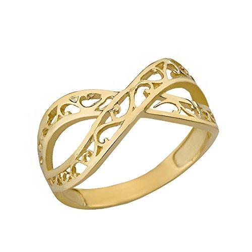 Women's 10k Yellow Gold Forever Filigree Infinity Ring (Size -