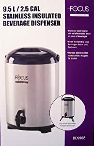 Focus BD95SS 9.5-liter Insulated Beverage Dispenser, Stainless