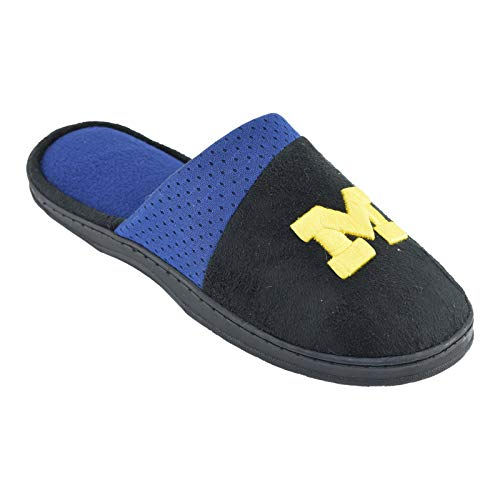 Campus Footnotes Mens Team Logo Black Scuff Slippers (Pick Your Team) (Michigan Wolverines, -
