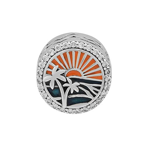 (CKK 925 Sterling Silver Tropical Sunset Charm Fits for Pandora Bracelet Jewelry Making, Mixed Enamel)