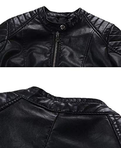 Vintage Invernali Schwarz Lunghe Monocromo Zip Tempo Glamorous Semplice Maniche In Moto Moda Cappotto Similpelle Donna Giacca Autunno Biker Giubbotto Jacket Elegante Libero 4Pv1E