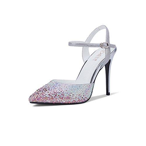 boutonné Femme à Diamants Sandales Chaussures Wysm Bout de wysm 10cm à à Talon Pointu Silver Boutonnière Baotou qXHBHz