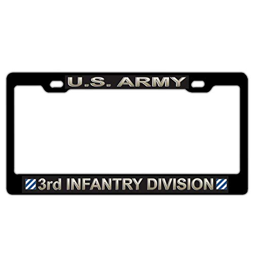 US Army 3rd Infantry Division Black Aluminum Metal License Plate Frame, Military Army License Plate Cover Holder, Auto Car Tag Holder for US Standard, 2 Holes and Screws