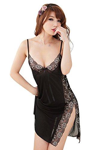 Shangrui Mujer Lencería de la Tentación Transparente Tallado Hilado de la Red del Cordón Pijamas W607 Negro