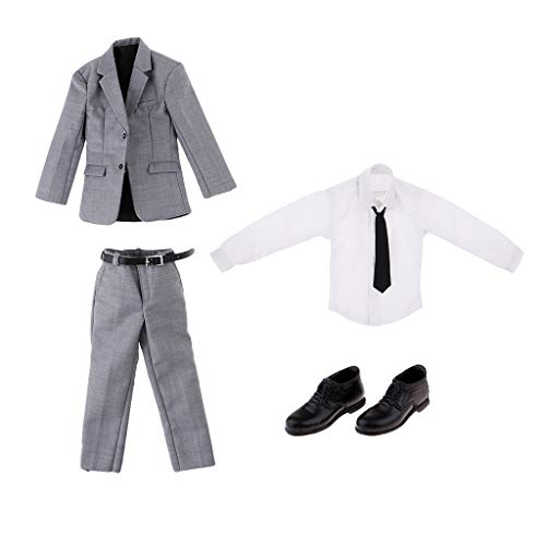 Flameer 1/6 Scale Workplace Business Suit & Black Shoes for 12'' Action Figures & Magic Show Props