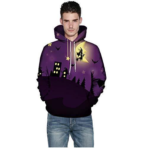 kaifongfu Halloween Hoodies Top,Long Sleeve Couples 3D Print Blouse Shirts(Purple,XXXXXL)
