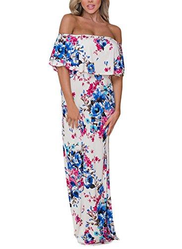 (Sidefeel Women Ruffle Off Shoulder Floral Print Maxi Boho Dress Small White)