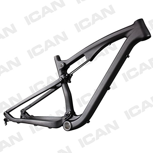 ICAN 27.5er Mountain Bike Suspension Frame Carbon 142mm Thru Axle and 135mm Quick Release Interchangeable