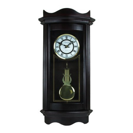Bedford Clock Collection Weathered Chocolate Cherry Wood 25'' Wall Clock with Pendulum by Bedford Clock Collection