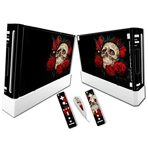 Skin Sticker Decal Cover for Nintendo Wii Rose Skull Design ()