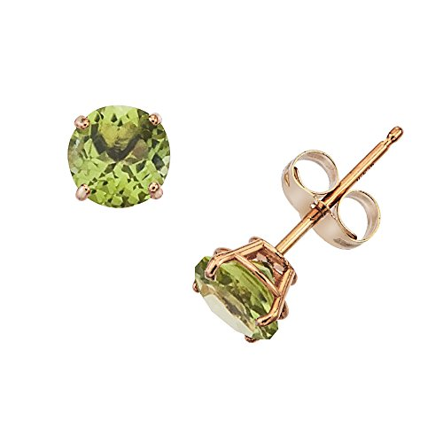 14k Gold Genuine .50ct TW Peridot August Birthstone - 14k Gold Peridot Earrings