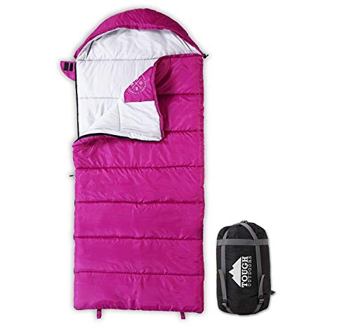 All Season Kids Sleeping Bag - Perfect for Children's Camping, Backpacking & Sleepovers - Fits Girls, Boys & Teens up to 5'1. Lightweight & Compact. Tough Ripstop Waterproof Shell & High-Loft Fill -