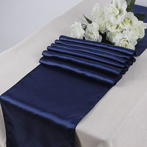 MDS Pack Of 10 Wedding 12 x 108 inch Satin Table Runner For Wedding Banquet Decoration- Navy Blue (Navy Blue Table Runners Wedding)