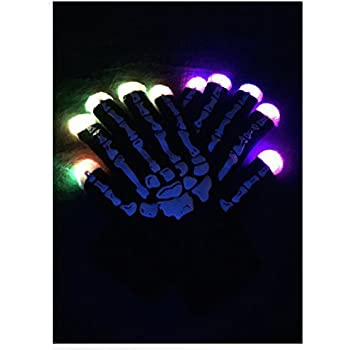 WDCS LED Gloves Party Light Show Gloves- 6 Light Flashing Modes. The Best Gloving & Lightshow Dancing Gloves for Clubbing, Rave, Birthday, EDM, Disco, and Dubstep Party (Skeleton 6 Modes)