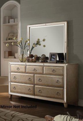 acme furniture voeville 68u0026quot dresser with 7 drawers front trim mirror inserts pine wood