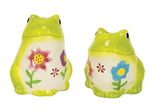 - Flower Power Frog Salt & Pepper Shakers,  Hand-painted Ceramic by Boston Warehouse