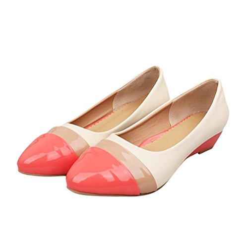 Pumps Fashion Low red Pointed peach Patent Latasa Dress Womens toe Heel Multicolored toe Wedge Shoes Faux leather 15xy7wpqT