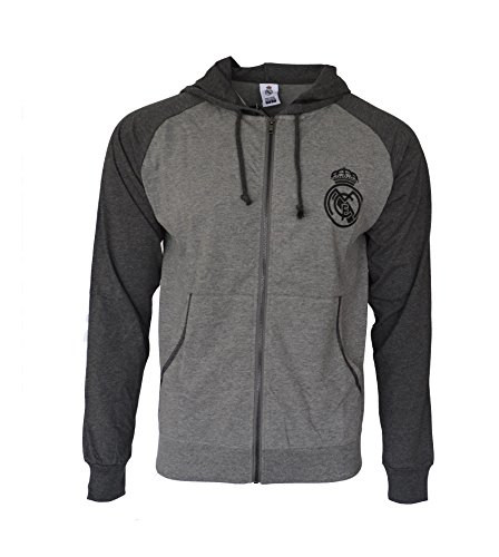 Real Madrid Hoodie lightweight Fz Summer Light Zip up Jacket Grey Adults (Grey, M)