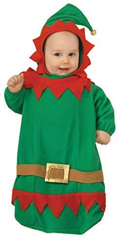 Forum Novelties Baby's Christmas Elf Bunting Costume, Multi, Infant -