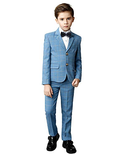 Yuanlu Boys Suits 5 Piece Toddler Kids Formal Tuxedo Suit Ring Bearer Outfit Blue Plaid Size 7