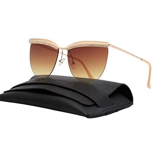 VIVIENFANG Rimless Diamond Eyebrow Oversized Sunglasses Flat Mirror Lens Shades For Unisex G87509B - Mens Sunglasses Flat Brow