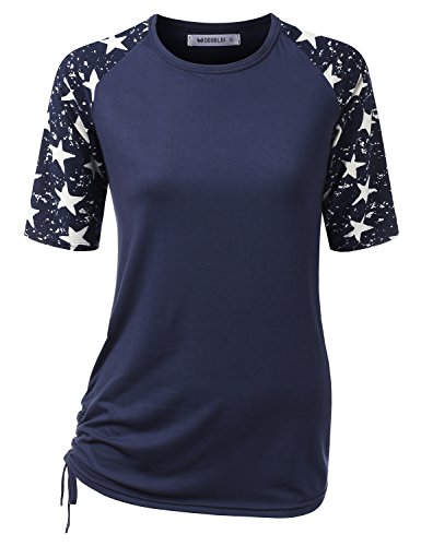 (CLOVERY Women's Raglan Two Tone Design Short Sleeve Round Neck Shirt NAVYSTAR XX-Large)