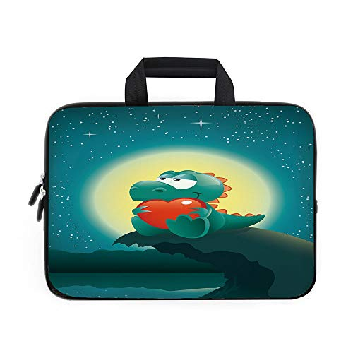 - Dinosaur Laptop Carrying Bag Sleeve,Neoprene Sleeve Case/Valentine Night Scenery with Cute Baby Dinosaur In Love Full Moon/for Apple Macbook Air Samsung Google Acer HP DELL Lenovo AsusJade Green Petro