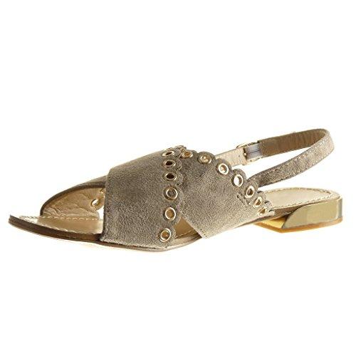1 cm Femme Clouté Talon Ouverte Beige Sandale Plat Angkorly Chaussure 5 Mode Perforée xqzFFS