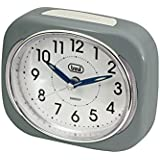 Trevi Retro Bedside/Travel Alarm Clock with LED Backlight and Silent Sweep Second Hand, Plastic, Grey