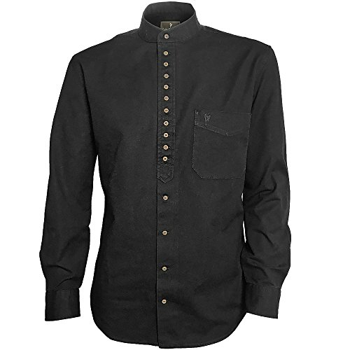 Traditional Irish Grandfather Collarless Shirt (Black Meteorite, S)