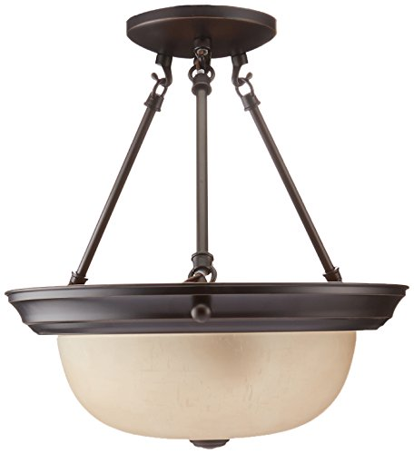 Nuvo Lighting 60/3109 Two Light Interior Home Package Semi-Flush with Champagne Glass, Mahogany Bronze, 13-Inch