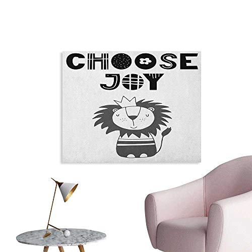 Anzhutwelve Lion Wall Paper Hand Drawn King of Jungle with an Uplifting Quote Monochrome Illustration Art Poster Black Grey and White W48 xL32 -
