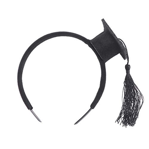 LUOEM Graduation Hat Headband Mini Doctoral Cap Headband Costume Graduation Cap with Black Tassels for Graduation Party Supply -