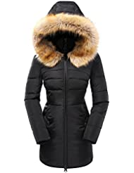 Valuker Women's Down Coat With Fur Hood 90% Down Parka Puffer Jacket