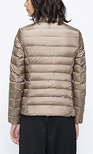 Outerwear Outwear Braun Invernali Hot Ragazza Tasche Coreana Cerniera Donna Giacca Laterali Lunga Manica Collo Piumino Con Leggero Moda Monocromo Di Chic Cappotto Elegante qRwUS4a