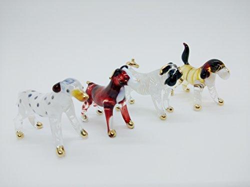 Dalmatian Dog Figurine (WitnyStore Animal Life Figure Art Mini Handicraft Decorations Glass Figurines Colorful Puppy Pet Dalmatian Bulldog Beagle Ornament Set of 4 (Dog Pet 1))