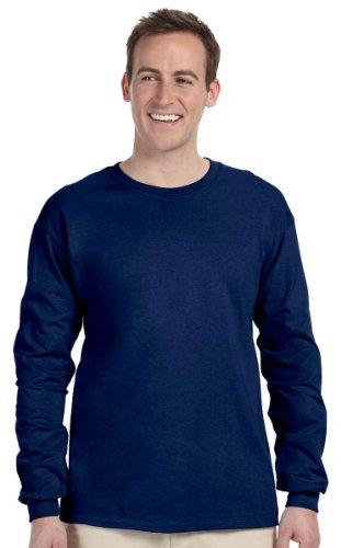 Gildan Mens 6.1 oz. Ultra Cotton Long-Sleeve T-Shirt G240 -NAVY - Ultra Men For