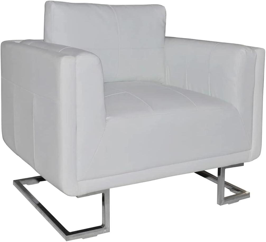 vidaXL Armchair Club White Artificial Leather Modern Cude Design Seating Home