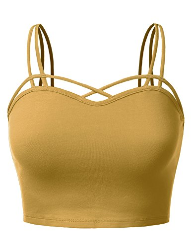 Shirred Halter Top (J.TOMSON Womens sleeveless Strappy Bustier Crop Tank Bralette Top DARKMUSTARD L)