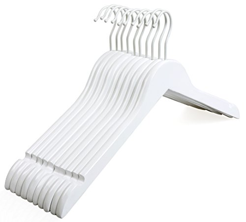 TOPIA HANGER White Wood Bridal Dress Hangers, Premium Wooden Shirt Hangers, 360° White Hook- Smooth Finish- Extra Smoothly Cut Notches, 10 Pack CT06W