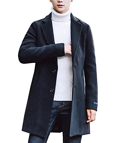 Uomo Trench Coat Sottile Caloroso Cappotto Di Lana Finto Inverno Classico Collare Giacche Manica Lunga Nero