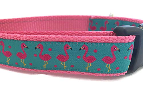 Animal Dog Collar, Caninedesign, Hippo, Flamingo, 1 inch Wide, Adjustable, Nylon, Medium and Large (Flamingo, Medium 13-19