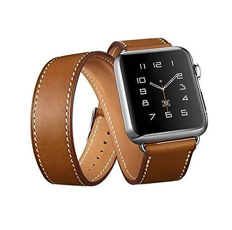 Correa combinada de cuero genuino con combinación de reloj Apple Watch Double Tour para Apple Watch ...