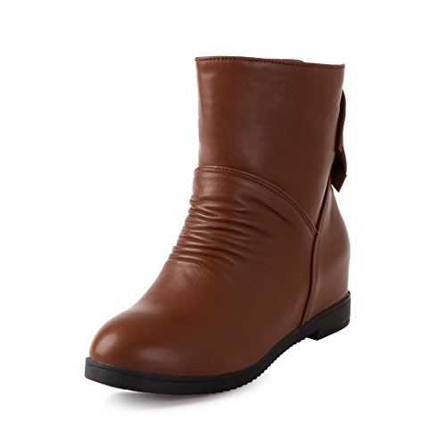 AllhqFashion Womens Soft Material Closed Round Toe Solid Low-Top Kitten-Heels Boots Brown 26jak