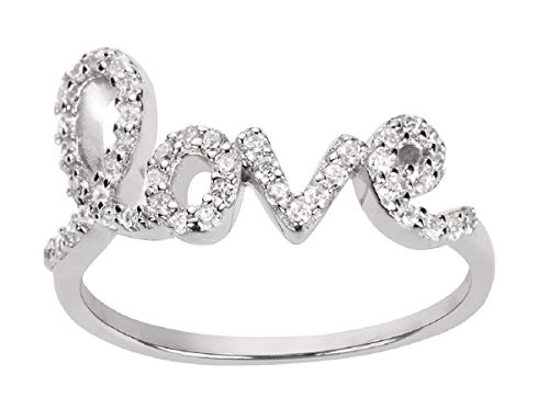 (CloseoutWarehouse Cubic Zirconia Love in Script Ring Sterling Silver Size 10)