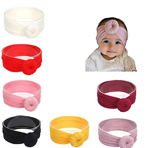 Udobuy7 Pcs Super Cute Baby Girls Toddler Elastic Headbands Turban Knot Rabbit Hairband Headwear (Headbands For Buns)