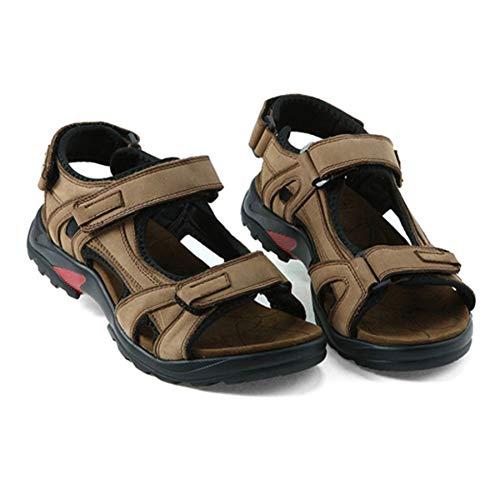 Hombres al Aire Libre Sandalias de Cuero Abierto Cerrado Lazo de Gancho Antideslizante el/ástico Suave Suela Plana Zapatos de Playa Verano Piscina Calzado de ba/ño de Sol