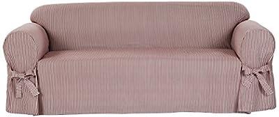 Classic Slipcovers BT10RAST One Piece Stripe Twill Sofa Slipcover