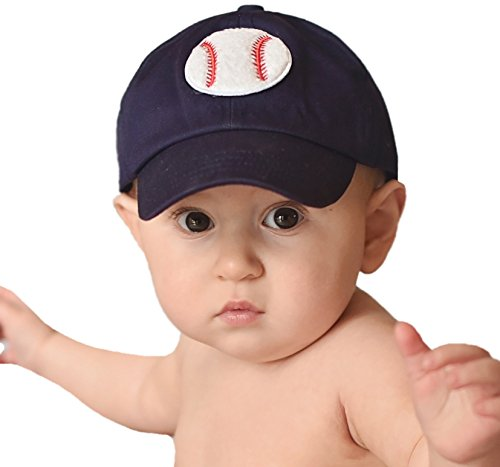 Melondipity Navy Blue Baseball Patch Hat for Baby Boys 0-7 months ()